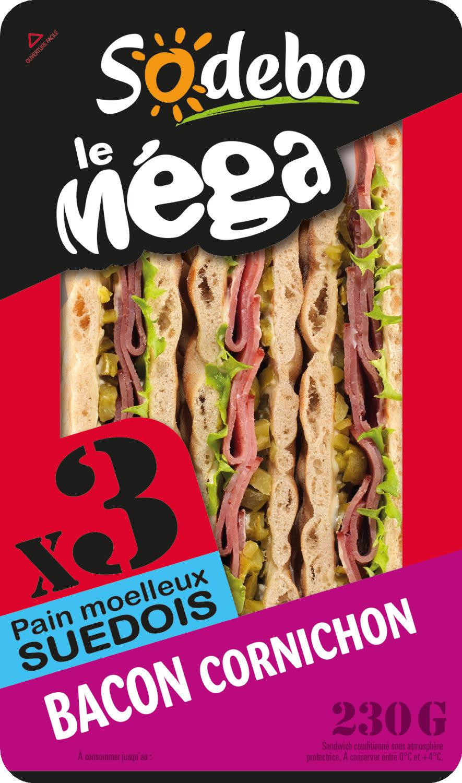 Sandwich Le Méga club - Bacon Cornichon x3 / pain suédois - Product