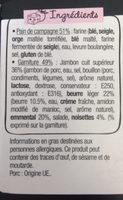 Le Rustic - Jambon Emmental Beurre léger et noisettes - Ingrédients - fr