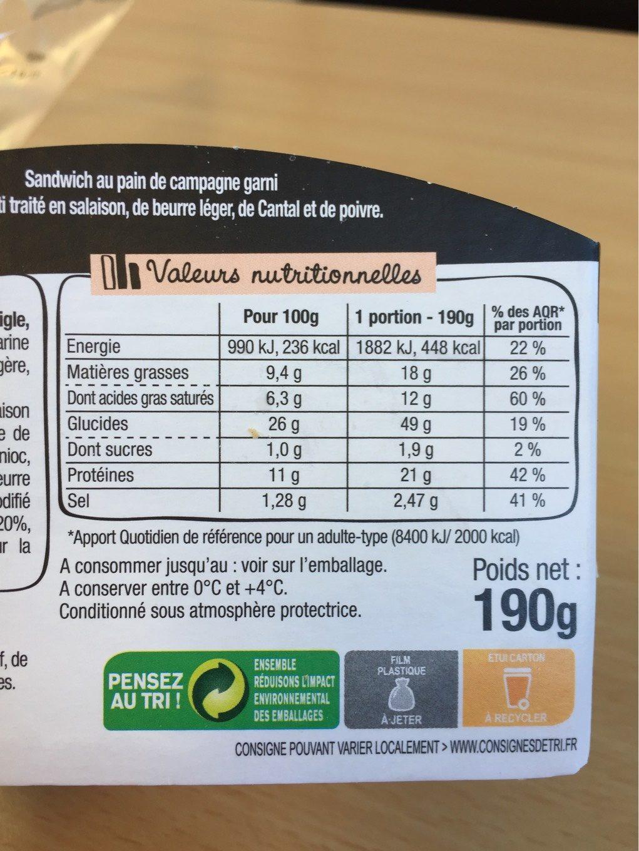 Le Rustic - Poulet rôti Cantal Beurre léger et Poivre - Informations nutritionnelles - fr