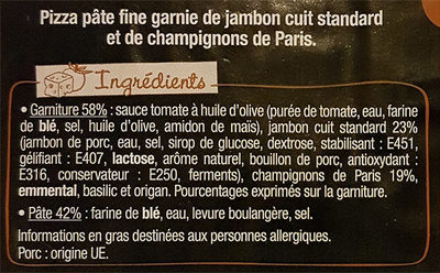 L'Ovale - Jambon & Champignons de Paris - Ingredientes