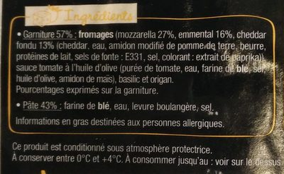 Sodebo L'Ovale 3 fromages fondants - Ingredients