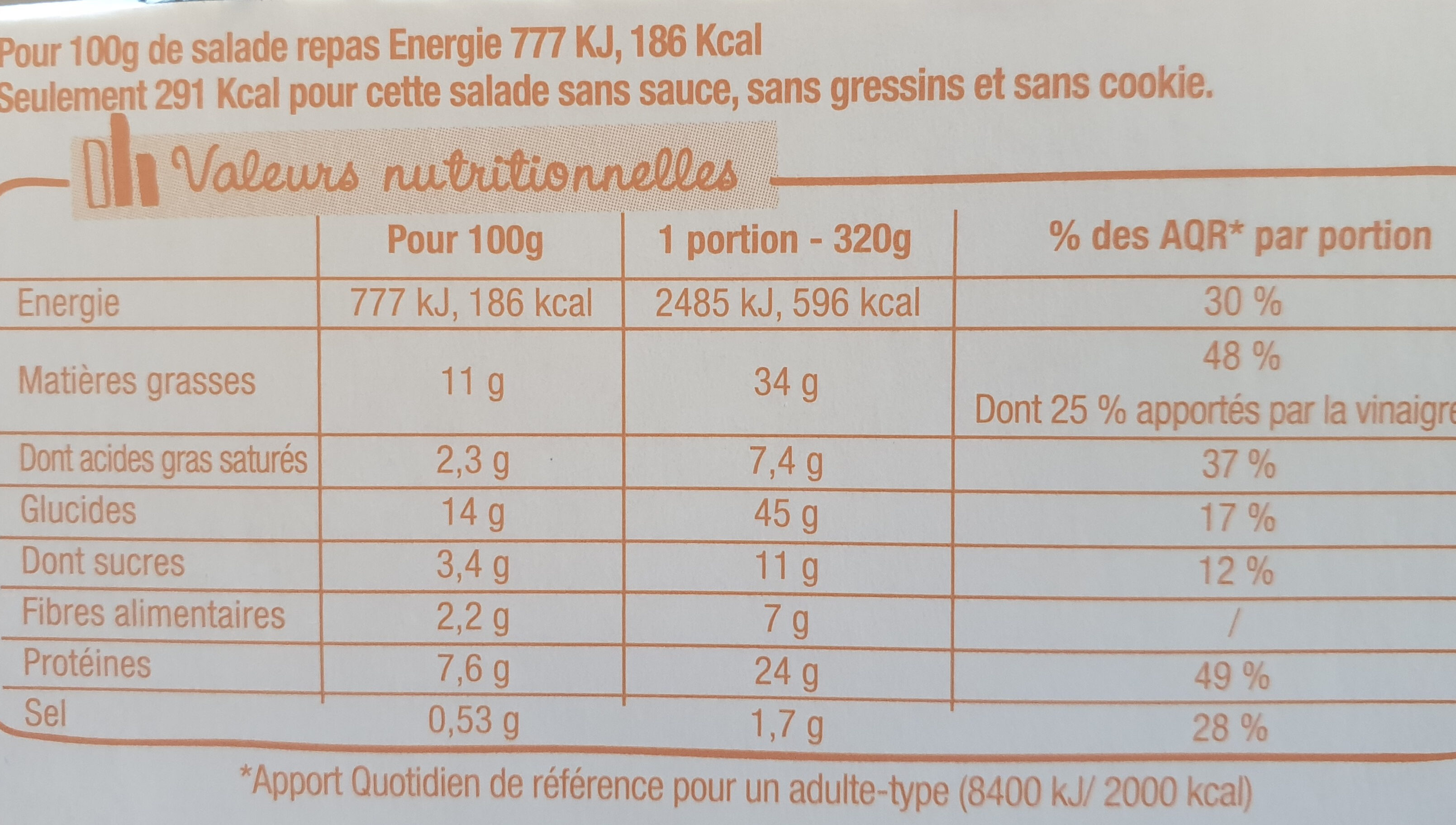 Salade & Compagnie - Manhattan - Informations nutritionnelles