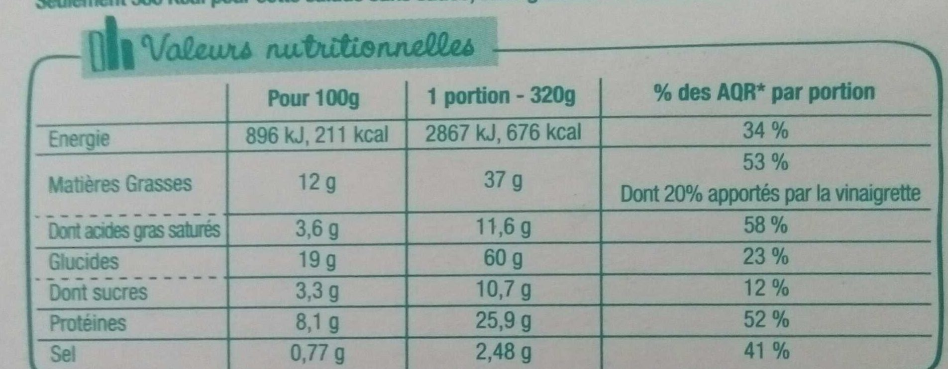 Salade & Compagnie - Venezia - Informations nutritionnelles