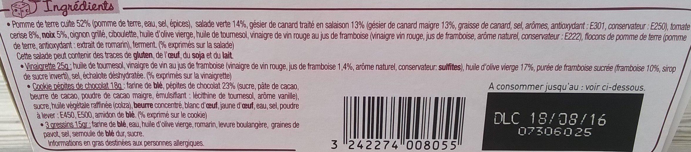 Salade & Compagnie Bergerac : Pommes de terre, Salade, Gésiers de Canard, Tomate et Noix - Ingrédients - fr