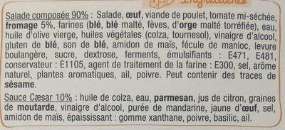 Mon atelier salade - Poulet caesar - Ingrédients
