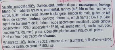Mon atelier salade - Jambon Emmental - Ingredients