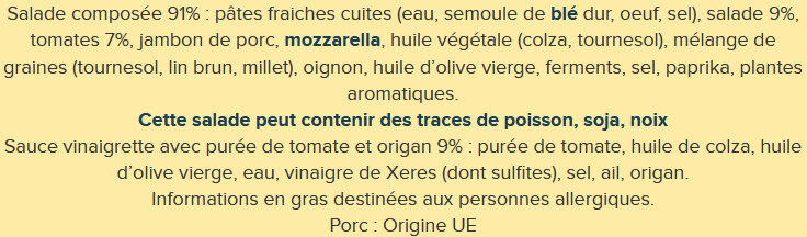 Pasta salade - Ingrédients - fr