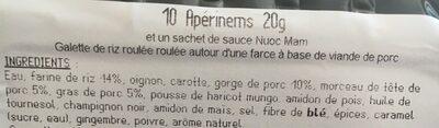 Nems - Ingrédients - fr