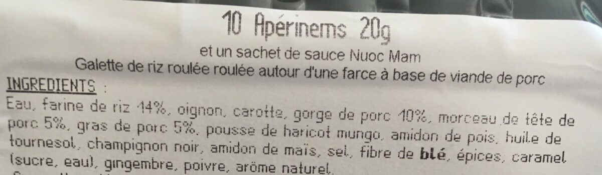 Nems - Ingrédients