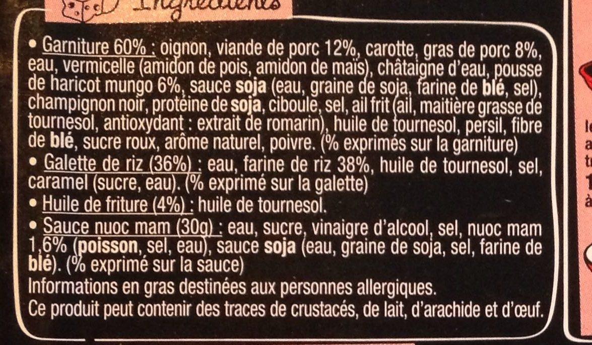 Taka - 4 Nems porc - Ingrédients - fr