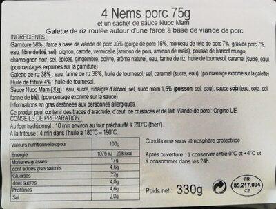 Nems au porc - Nutrition facts