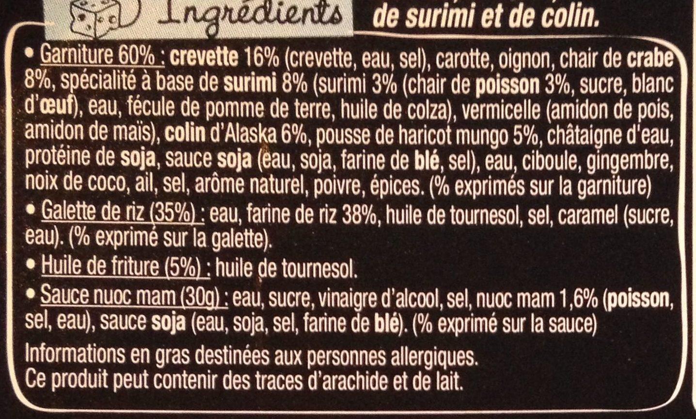 Taka - 4 Nems à la Crevette - Ingrédients - fr