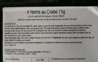 4 nems au crabe - Ingredients
