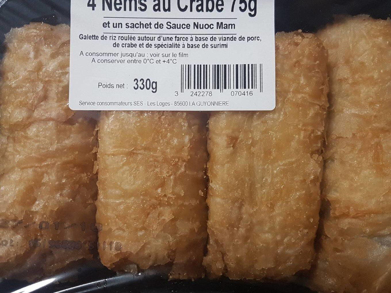 4 nems au crabe - Nutrition facts