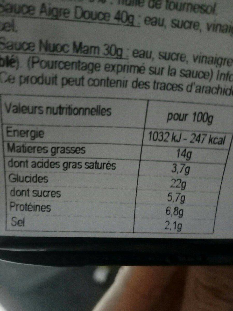 Assortiment Asiatique - Nutrition facts
