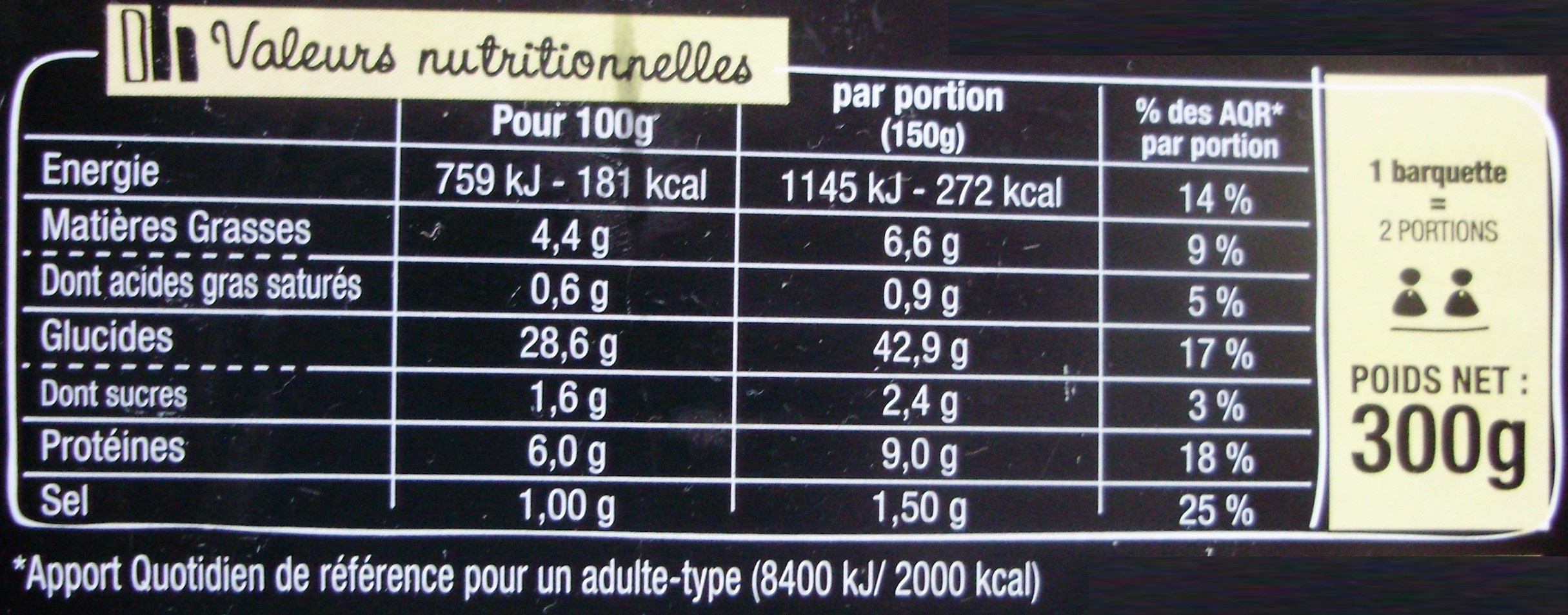 Taka - Riz cantonais - Nutrition facts - fr