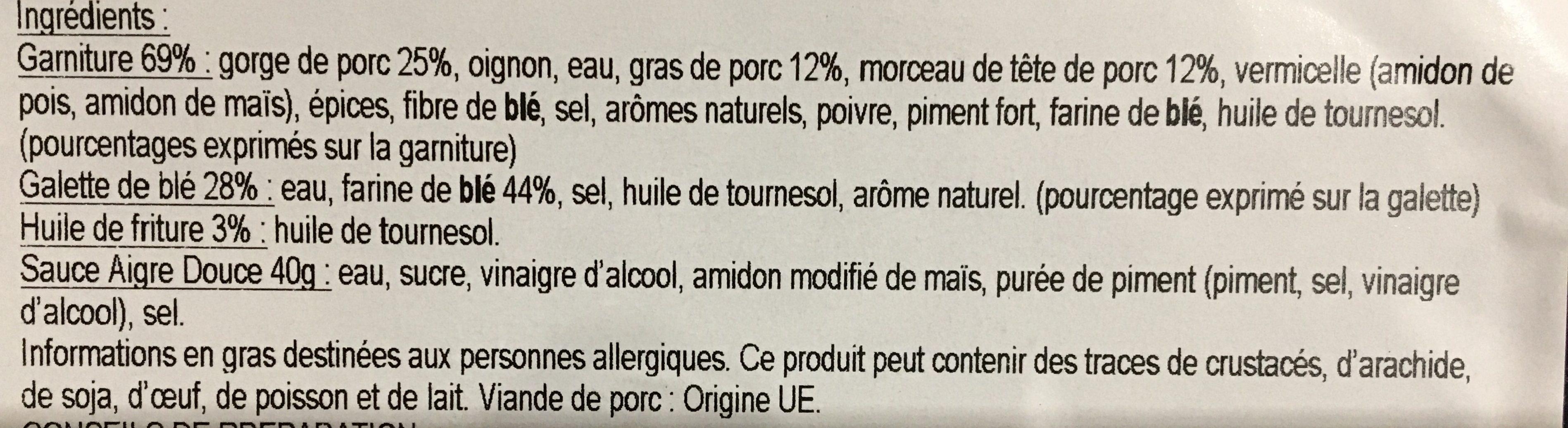 Samoussas Porc - Ingrédients - fr