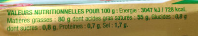 Beurre extra-fin - Informations nutritionnelles - fr