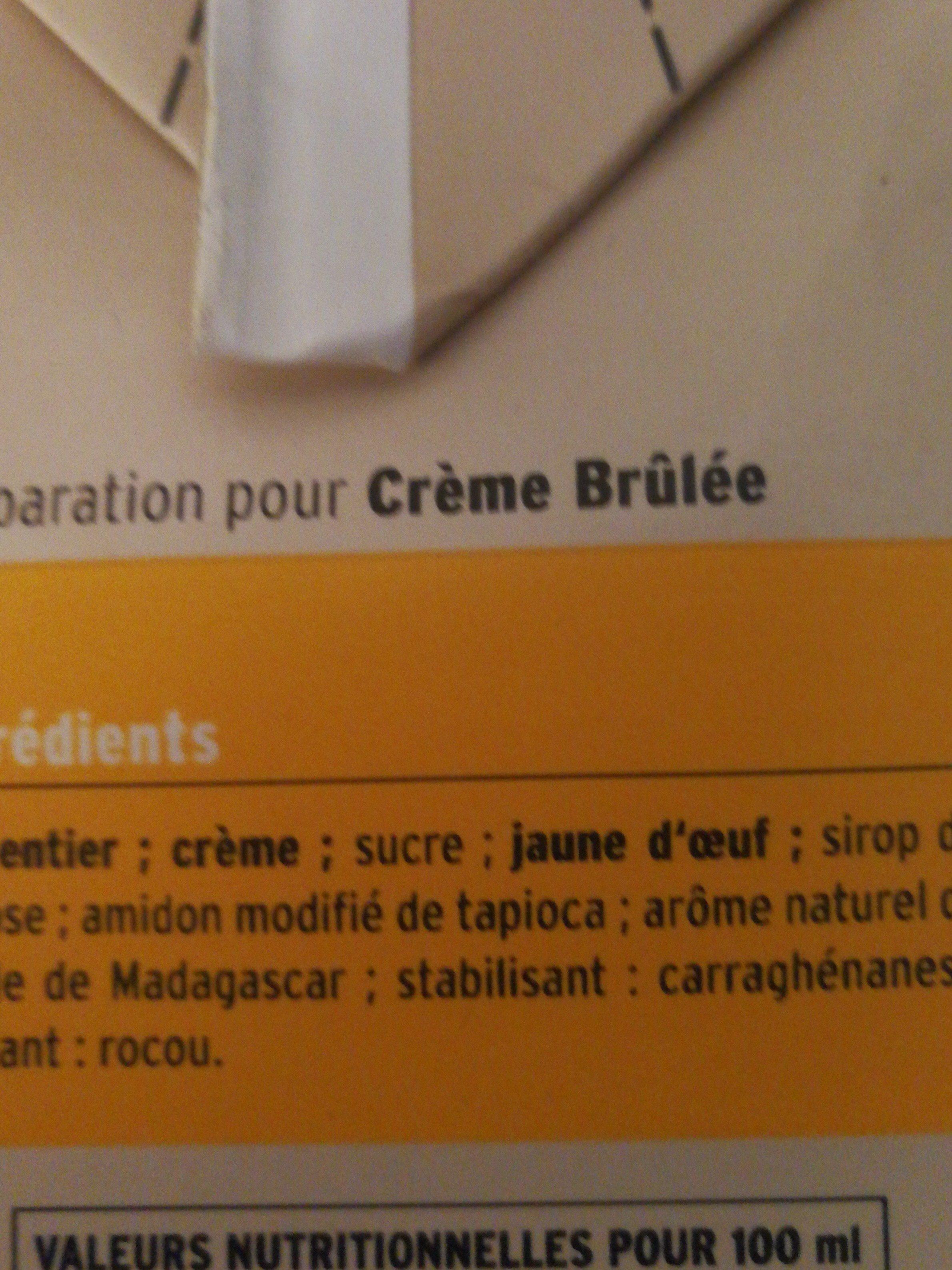 Préparation Uht Pour Crème Brûlée - Ingrédients - fr
