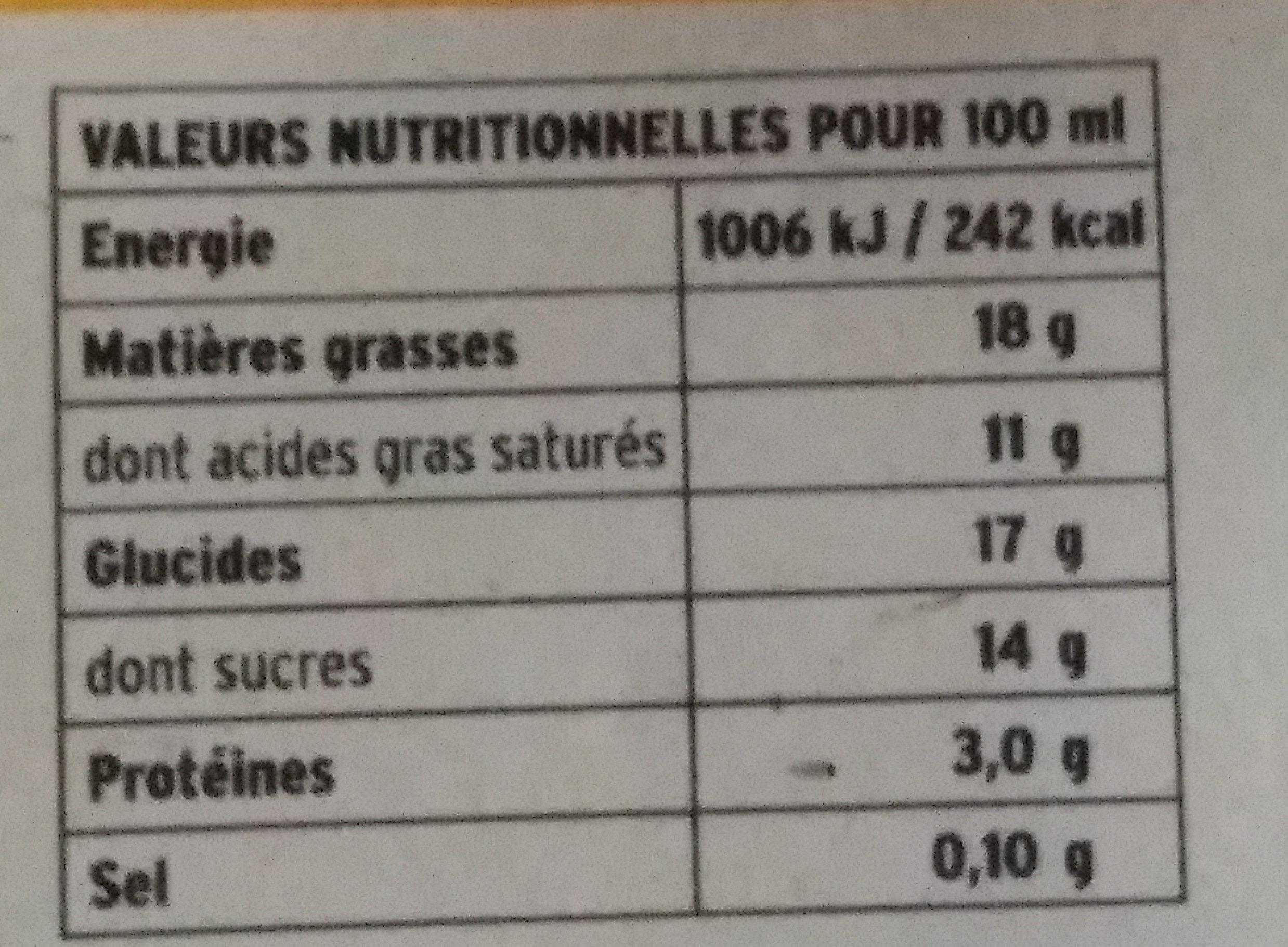 Préparation Uht Pour Crème Brûlée - Informations nutritionnelles - fr