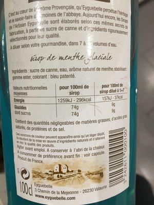 Sirop de Menthe Glaciale - Ingrédients - fr