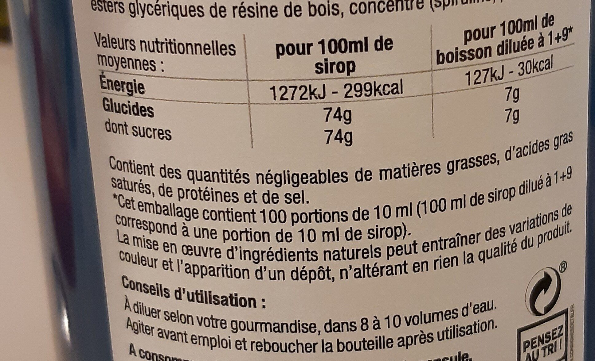 Sirop de Menthe Glaciale - Informations nutritionnelles - fr
