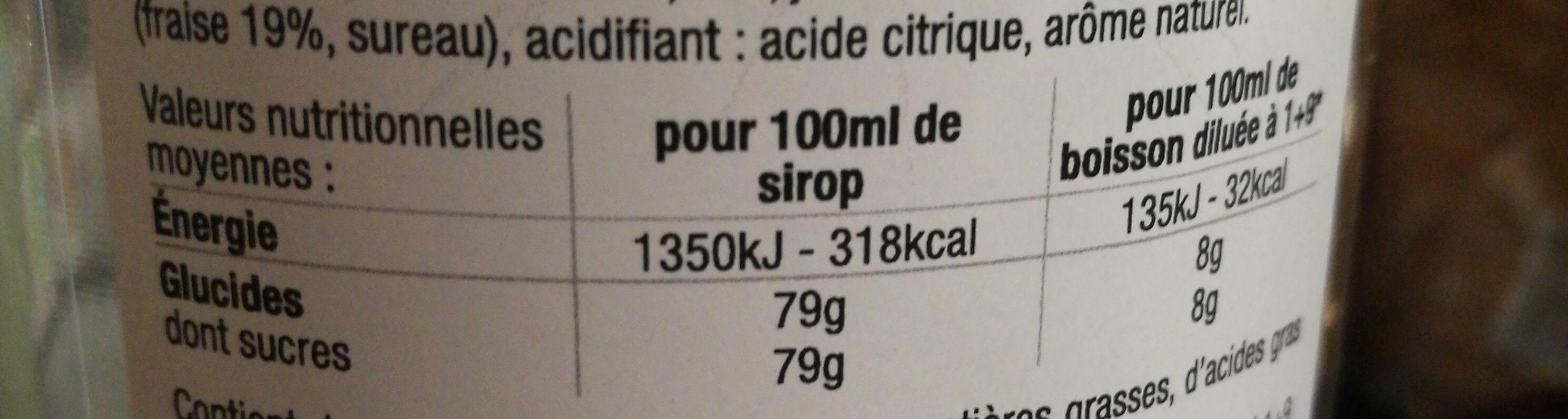 Eyguebelle - Sirop De Fraise 100 CL - Informations nutritionnelles - fr