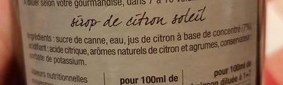 Eyguebelle - Sirop De Citron Soleil 70 CL - Ingrédients