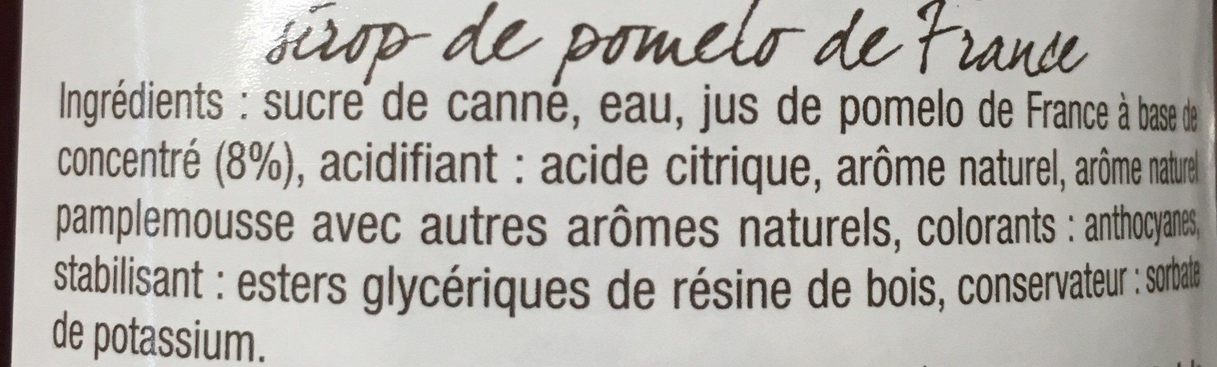 Sirop de Pomelo de Corse - Ingrédients - fr