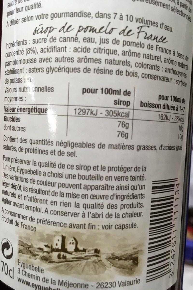Sirop de Pomelo de Corse - Informations nutritionnelles - fr