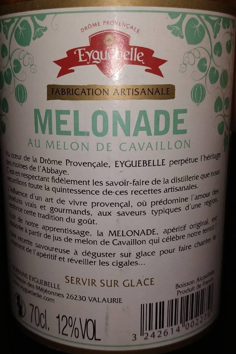 Eyguebelle - L'apéritif Melonade - Ingredients