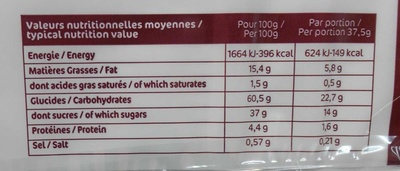 12 cakes rocher aux fruits confits - Nutrition facts