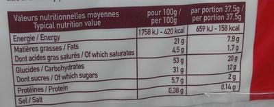 12 Cakes Rocher Pépites de Chocolat - Informations nutritionnelles