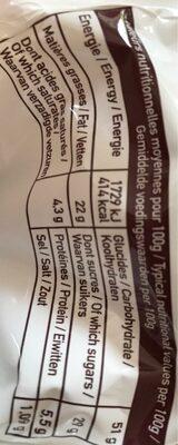 Moelleux Pépites de Chocolat - Voedingswaarden - fr