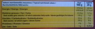 Goûters Tout caramel - Informations nutritionnelles - fr