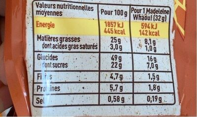 Madeleine gout choco noisette - Nutrition facts - fr