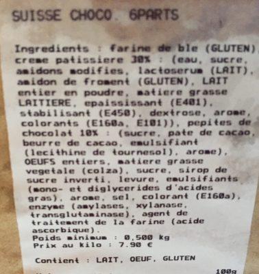 Suisse choco - Ingredients - fr