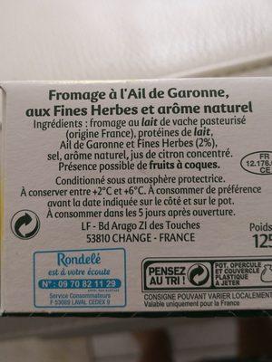 Rondel Ail de Garonne & Fines Herbes - Ingrediënten - fr
