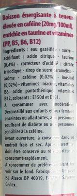Energy drink à base de taurine - Ingrédients - fr