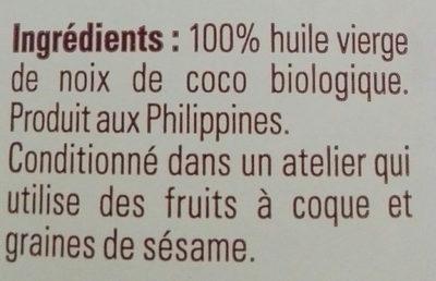Huile Vierge de Noix de Coco Bio - Ingredientes