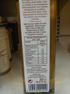 Huile de colza fruitée aux noix - 1