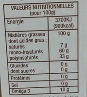 Huile de colza fruitée aux noix - Voedingswaarden - fr