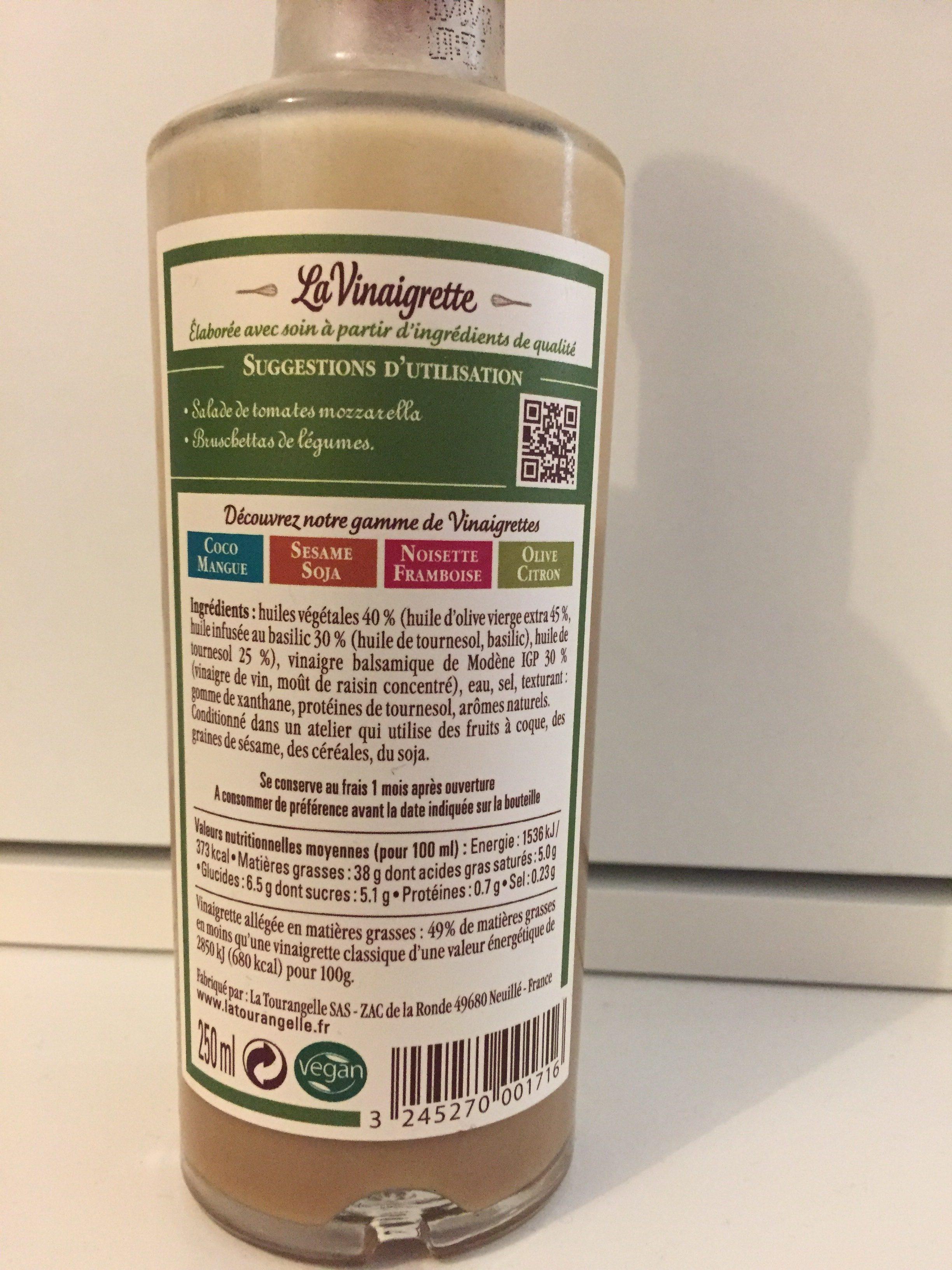 La vinaigrette olive basilic au vinaigre balsamique la tourangelle 250 ml - Vinaigre balsamique calorie ...