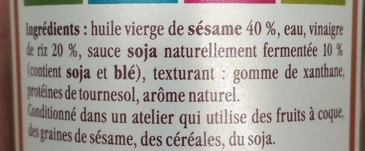 La Vinaigrette sesame soja - Ingredients