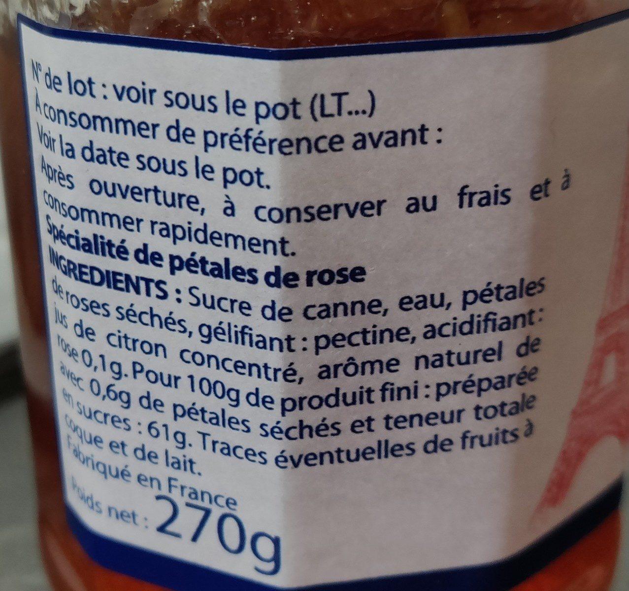 Spécialité de Rose - Ingrediënten - fr