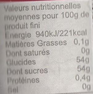 Fraise jus de groseille - Informations nutritionnelles - fr