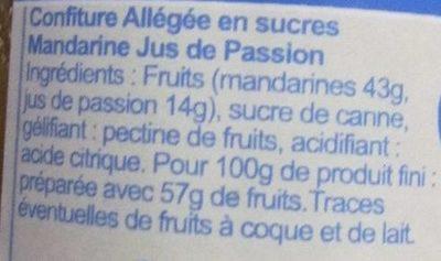 Mandarine Jus de Passion allégée - Ingrédients