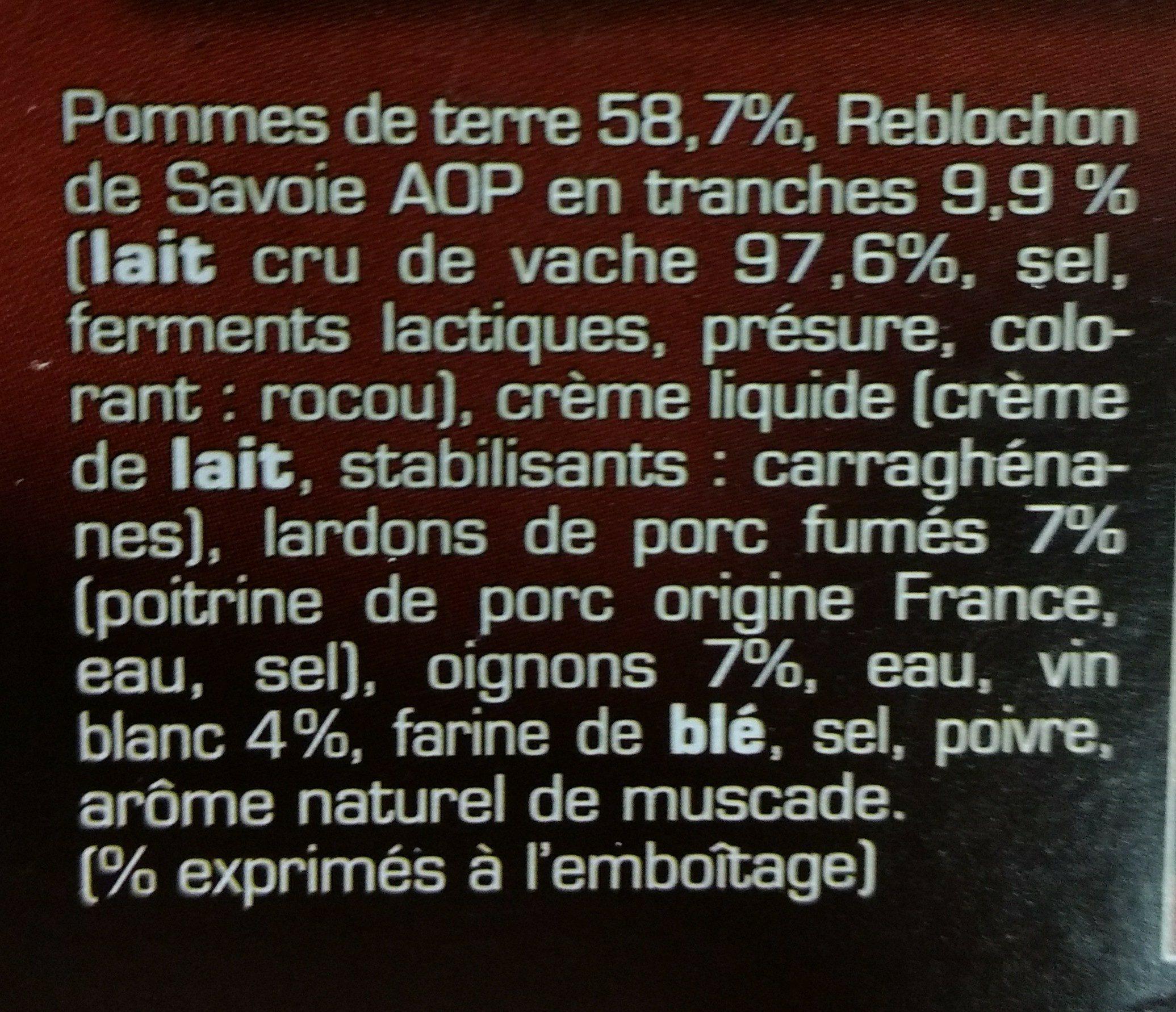 Tartiflette au Reblochon de Savoie AOP - Ingrédients