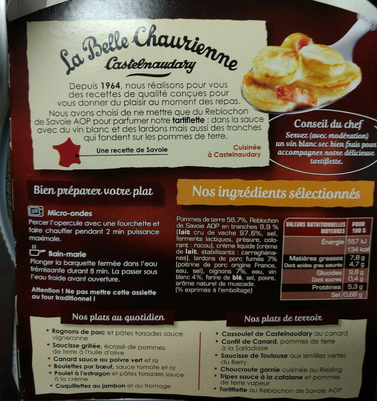 Tartiflette au Reblochon de Savoie AOP - Informations nutritionnelles