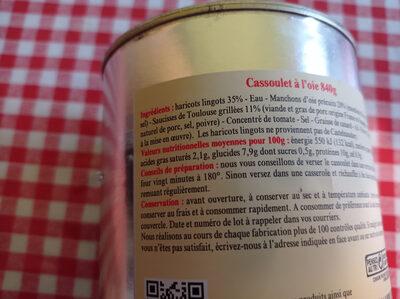 Cassoulet au Confit d'Oie - Voedingswaarden - fr